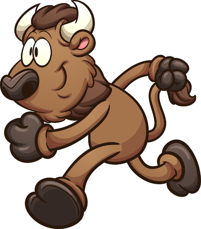 Running cartoon bison. Vector clip art illustration. Some elements on separate layer.