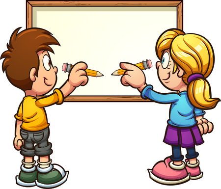 Cartoon kids writing on a blank board. Vector clip art illustration. Some elements on separate layers.