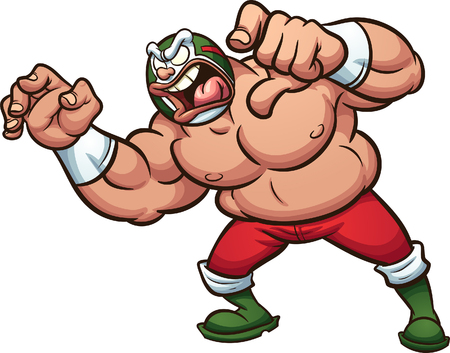 Angry fat cartoon Mexican wrestler screaming. Vector clip art illustration with simple gradients. All in a single layer.