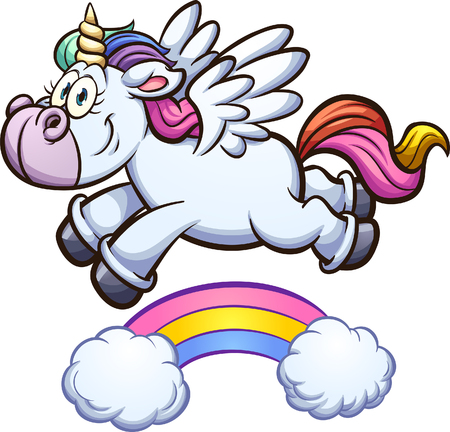 Cartoon unicorn flying over rainbow. Vector clip art illustration with simple gradients. Unicorn and rainbow on separate layers. Illustration
