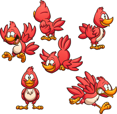 Cartoon red bird in different poses. Vector clip art illustration with simple gradients. Each on a separate layer.