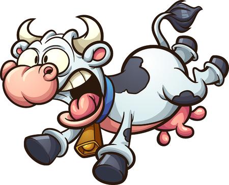 Vaca de dibujos animados loco corriendo asustado. Ilustración de imágenes prediseñadas vectoriales con gradientes simples. Todo en una sola capa.