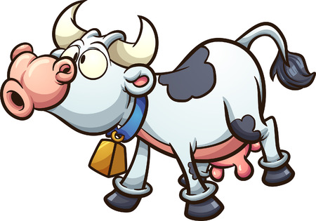 Mooing cartoon cow. Vector clip art illustration with simple gradients. All in a single layer.