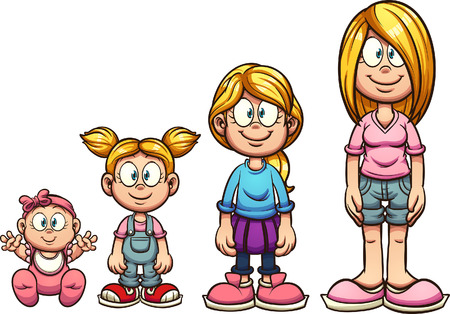 Cartoon girl growing up from baby to teenager. Vector clip art illustration with simple gradients. Each on a separate layer. Ilustracja