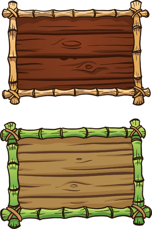 Cartoon bamboo frames with wooden planks. Vector clip art illustration with simple gradients. Some elements on separate layers.