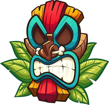 Cartoon colorful tiki mask with leaves. Vector clip art illustration with simple gradients. All in a single layer. Illustration