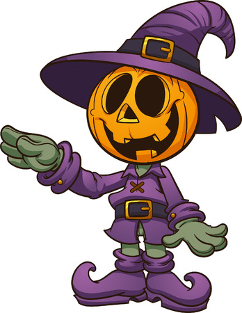 Happy cartoon Halloween  Jack-'o-lantern character. Vector clip art illustration. Character and arm on separate layers.