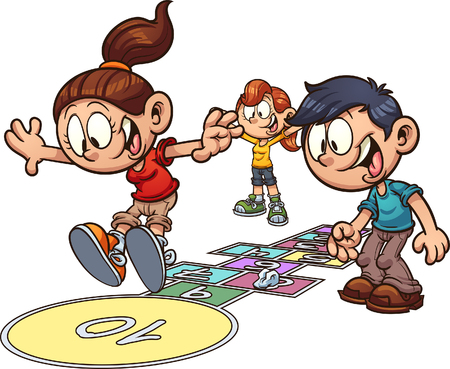Cartoon kids playing hopscotch. Vector clip art illustration with simple gradients. Some elements on separate layers. Stock Illustratie