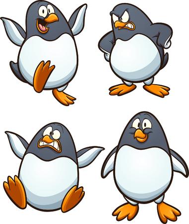 Pingouin de dessin animé avec différentes expressions. Illustration de clip art vectoriel avec des dégradés simples. Chacun sur un calque séparé.