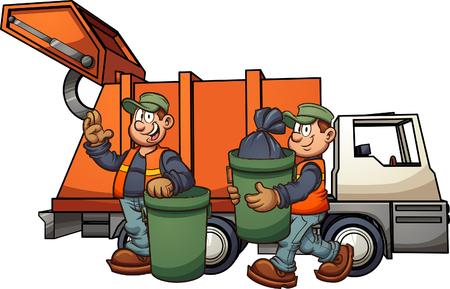 Uomini della spazzatura del fumetto con il camion, raccogliendo la spazzatura. Illustrazione di clip art vettoriale con semplici sfumature. Alcuni elementi su livelli separati.