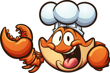 Happy cartoon chef crab. Vector clip art illustration with simple gradients. All in a single layer.