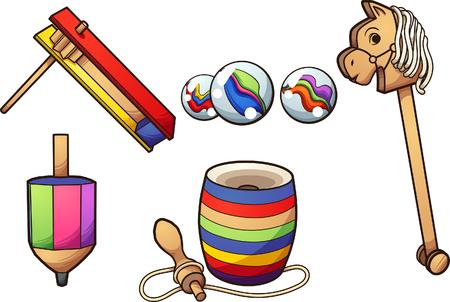 Dibujos animados de juguetes típicos mexicanos. Ilustración de imágenes prediseñadas vectoriales con gradientes simples. Cada uno en una capa separada. Ilustración de vector