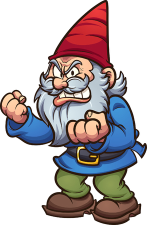 Angry cartoon gnome. Vector clip art illustration with simple gradients. All in a single layer. Stock Illustratie