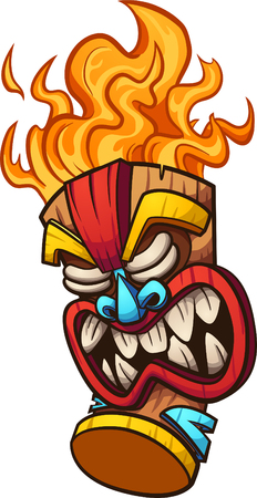 Cartoon tiki mask with fire hair. Vector clip art illustration with simple gradients. All in a single layer. Çizim