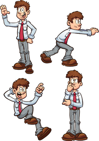 Cartoon office worker employee in different poses. Vector clip art illustration with simple gradients. Each on a separate layer. Stock fotó - 106958912