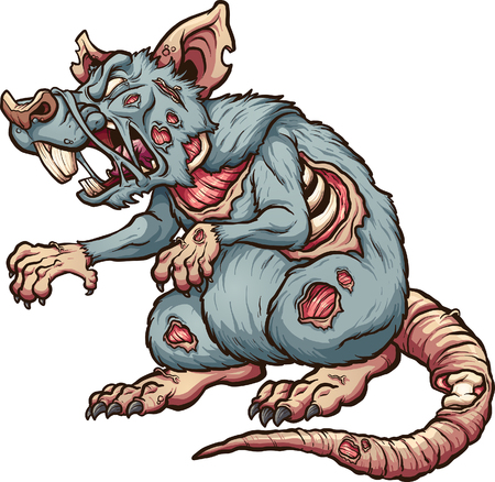Menacing zombie rat. Vector clip art illustration with simple gradients. All in a single layer. Illustration