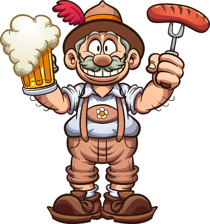 Bawarski mężczyzna w tradycyjnych strojach świętuje Oktoberfest z piwem w jednej ręce i kiełbasą w drugiej. Clip art wektor ilustracja z prostych gradientów. Niektóre elementy na osobnych warstwach. Ilustracje wektorowe