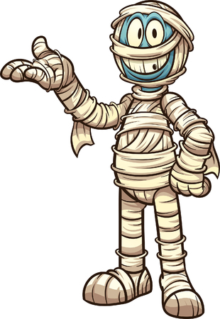 Happy cartoon mummy. Vector clip art illustration with simple gradients. All in a single layer.