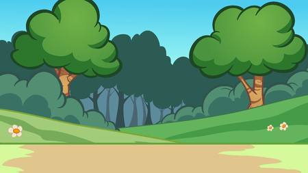 Cartoon forest background. Vector clip art illustration with simple gradients. Some elements on separate layers. Illustration