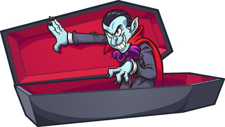 Vampire coming out of coffin. Vector clip art illustration with simple gradients. All in a single layer.