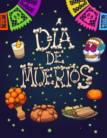 Day of the dead elements. Vector clip art illustration with simple gradients. Some elements on separate layers.