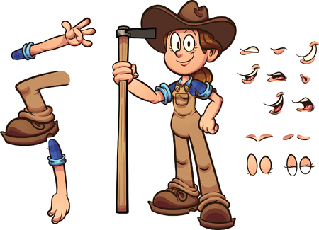 Cartoon farmer girl with different expressions holding a hoe. Vector clip art illustration with simple gradients. Some elements on separate layers.