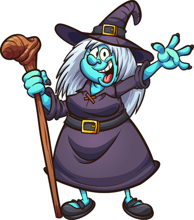 Happy fat cartoon witch. Vector clip art illustration with simple gradients. All in single layer. Imagens - 108643542
