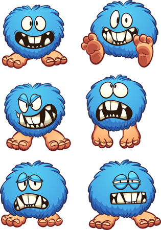 Blue fluffy ball cartoon monster with different expressions. Vector clip art illustration with simple gradients. Each on a separate layer.