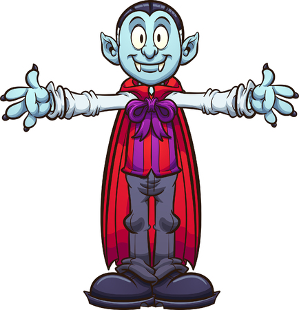 Happy cartoon vampire with separate body parts. Vector clip art illustration with simple gradients. Some elements on separate layers.