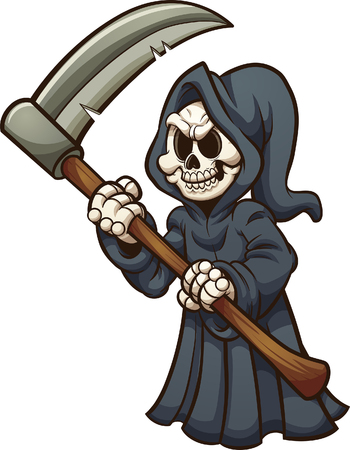 Grim reaper with scythe. Vector clip art illustration with simple gradients. All in a single layer.