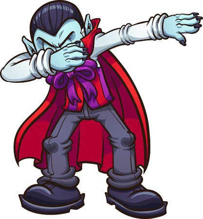 Dabbing cartoon vampire. Vector clip art illustration with simple gradients. All in a single layer.