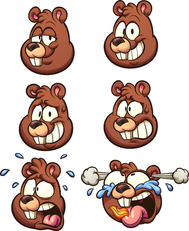 Squirrel head with different expressions.   clip art illustration with simple gradients. Each on a separate layer.
