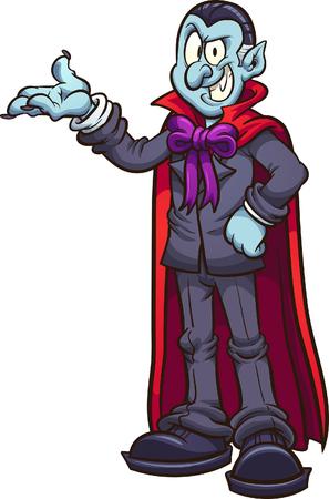 Cartoon-Vampir, der etwas zur Schau stellt. ClipArt-Illustration mit einfachen Farbverläufen. Alles in einer einzigen Schicht.