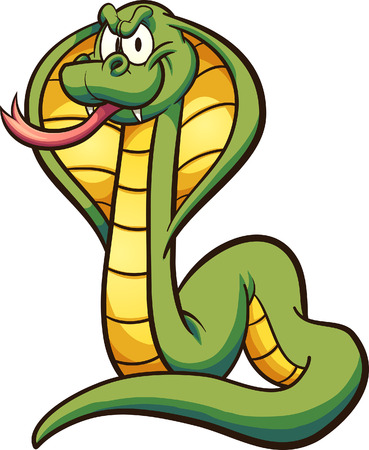 Cobra de dibujos animados con lengua fuera. Ilustración de arte de clip con gradientes simples. Todo en una sola capa. Ilustración de vector