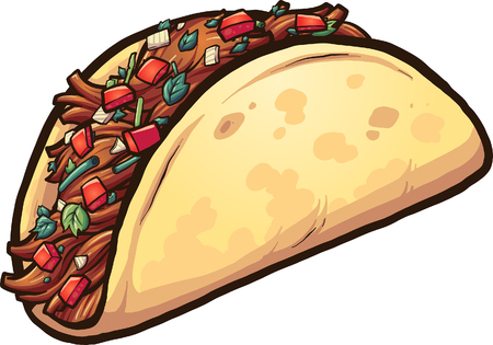 Cartoon meat taco with cilantro and tomato. Vector clip art illustration with simple gradients. All in a single layer.