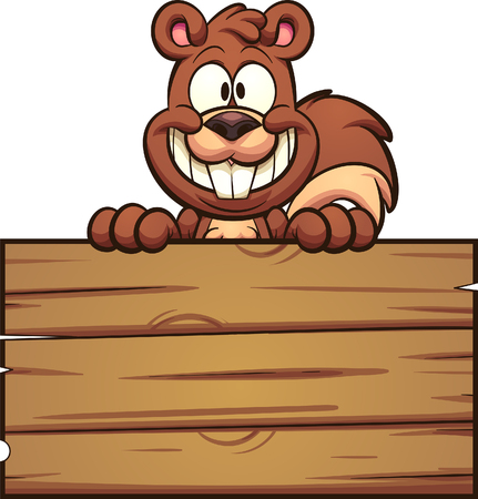 Cartoon squirrel with wooden sign. Vector clip art illustration with simple gradients. squirrel and sign on separate layers. Banco de Imagens - 112956768