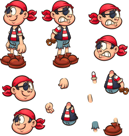 Cartoon pirate boy with separate parts ready for animation. Vector clip art illustration with simple gradients. Some elements on separate layers.