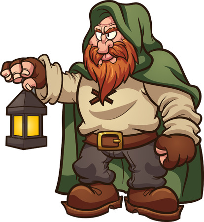 Fairy tale medieval dwarf with a green hood, holding a lantern. Vector clip art illustration with simple gradients. All in a single layer.