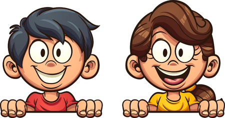 Happy cartoon boy and girl peeking out. Vector clip art illustration with simple gradients. Each on a separate layer. Çizim