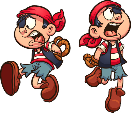 Pirate boy falling with hands tied behind back. Vector clip art illustration with simple gradients. Each on a separate layer. Çizim