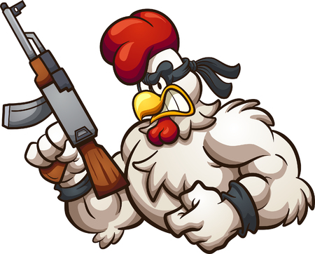 Strong and angry cartoon chicken holding an Ak-47 gun. Vector clip art illustration with simple gradients. All in a single layer.