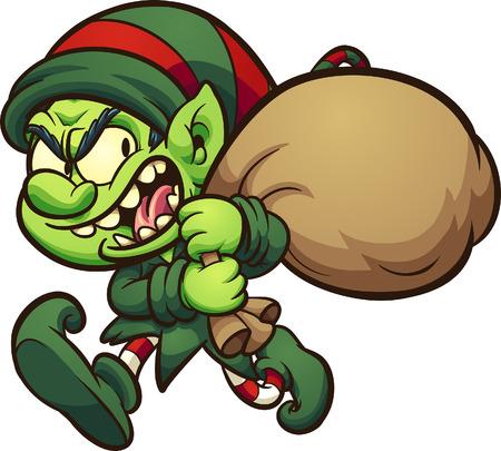 Böser Cartoon Weihnachtself, Geschenke stehlen. ClipArt Vektorgrafik mit einfachen Farbverläufen. Alles in einer einzigen Schicht.