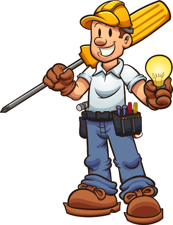 Cartoon electrician holding an oversized screw driver and a lightbulb. Vector clip art illustration with simple gradients. Some elements on separate layers. Ilustracja