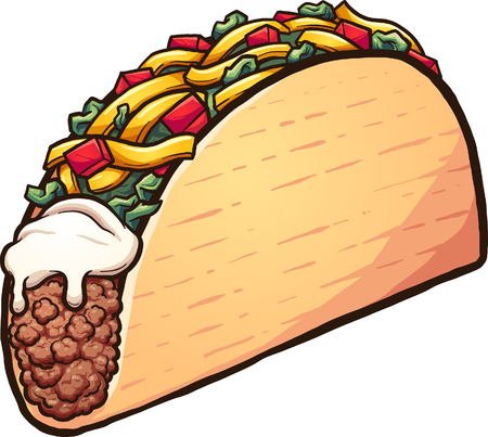 American style cartoon taco. Vector clip art illustration with simple gradients. All in a single layer. Ilustração