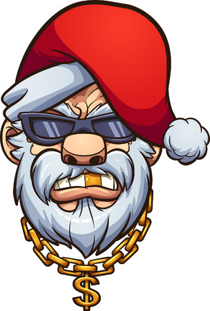 Gangster Santa Claus with a golden tooth and a golden chain. Vector clip art illustration with simple gradients. All in a single layer.