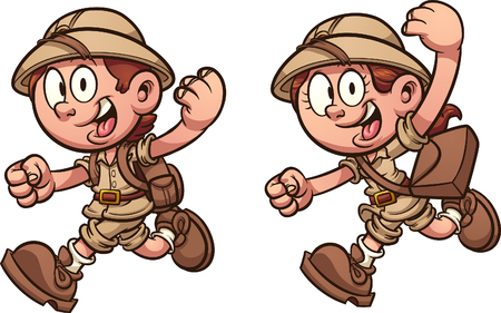 Cartoon kids running with safari costumes. Vector clip art illustration with simple gradients. Each on a separate layer.