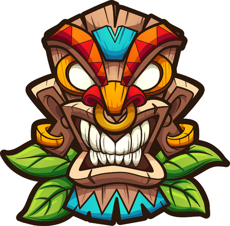 Cartoon colorful tiki mask with leaves. Vector clip art illustration with simple gradients. All in a single layer. Ilustracja
