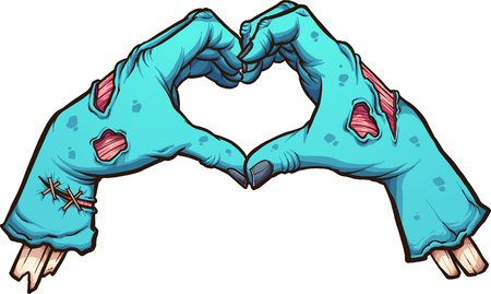 Manos de San Valentín zombie formando una forma de corazón. Ilustración de imágenes prediseñadas vectoriales con gradientes simples. Todo en una sola capa.