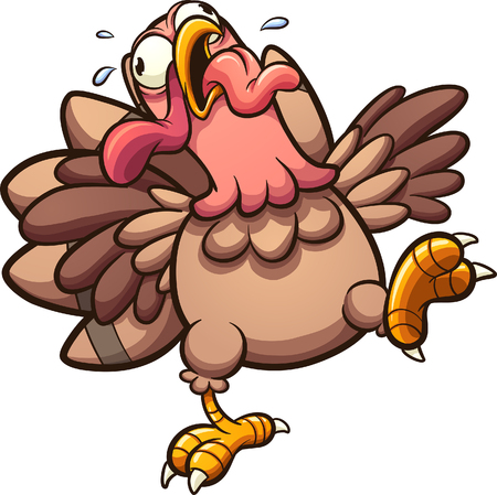 Crazy cartoon turkey gobbling with tongue out. Vector clip art illustration with simple gradients. All in a single layer.