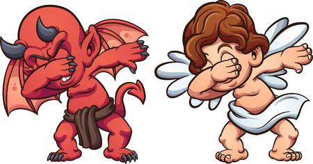 Deppende engel en duivel. Vector illustraties illustratie met eenvoudige hellingen. Elk op een aparte laag.